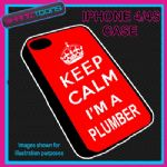 FITS IPHONE 4 / 4S PHONE KEEP CALM IM A PLUMBER  PLASTIC COVER RED